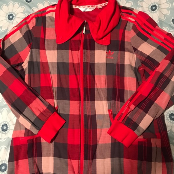 adidas Jackets & Blazers - Red checkered adidas zip up
